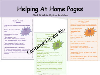 Cueing Systems/Prompts -  MiniPosters, 'Cheats', Home Help, Bookmarks Printables