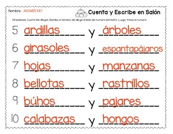Cuenta Y Escribe *Count & Write the Room* Autumn version in Spanish