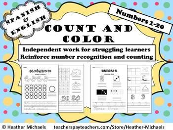 Number Recognition Cuenta y colorea 1-20 / Count & Color 1-20 English & Spanish