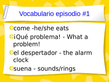 Cuéntame Episodio #1 Vocabulary