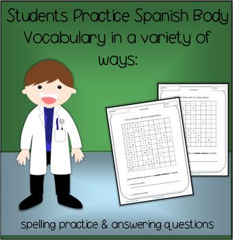 Cuerpo / Body, Spanish Vocabulary Practice – 6 practice activities