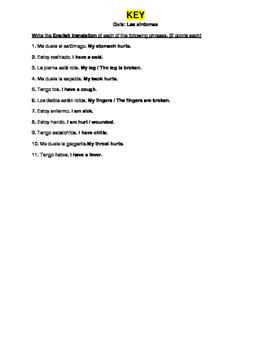 Cuerpo / Salud (Body Health Spanish) - Symptoms Quiz