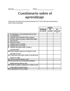 Cuestionario sobre el aprendizaje estudiantil