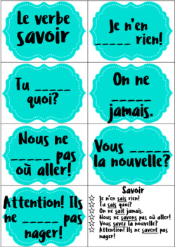 Cuillère Spoons Game for Common French Verbs-Extension