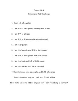 Cuisenaire Rod Challenge