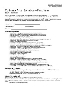 Culinary Art Syllabus - First Year