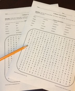 Culinary Arts Careers Word Search Activities
