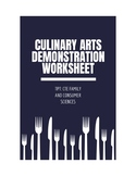 Culinary Arts Demonstration Worksheet