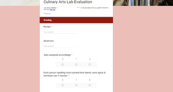 Culinary Arts/Food & Nutrition Lab Evaluation Google Form & Lab Planning Sheet