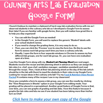 Culinary Arts Food Nutrition Lab Evaluation Google Form Lab Planning Sheet