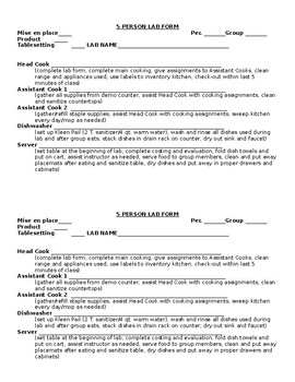 Culinary Arts Lab Forms
