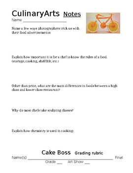 Culinary Arts Lesson Papers
