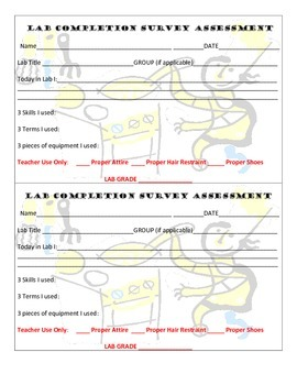 Culinary Food Cooking Lab Survey Assessment Grading Sheet