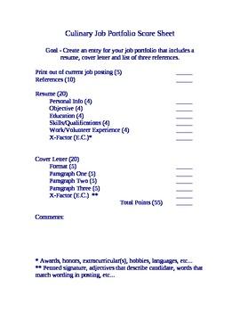 Culinary Job Portfolio Score Sheet