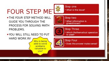 Culinary Math 4 step method to solve problems
