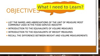 Culinary Math Introduction to units, weight vs volume, and equivalents