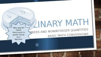 Culinary Math -Nonintegers- Conversion of Decimal, fraction, and percents