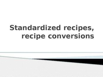 Culinary Math ppt on Conversion factor
