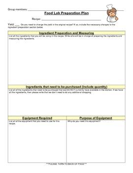 Culinary lab preparation worksheet