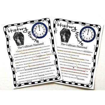 Cullinan Diamond History Minute Cross Curricular History and Close Reading Pack