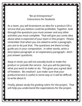 """Culminating Activity for Economics - """"Be an Entrepreneur""""  3rd and 4th grades"""