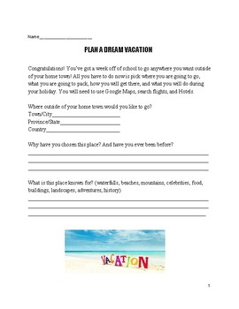 Culminating Assignment: Plan a Vacation