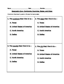 Culminating Geography Quiz
