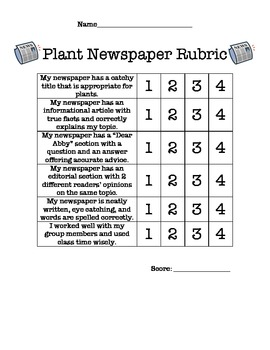Culminating Plant Unit Writing Activity- Newspaper Project