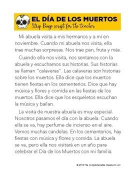 El Día de los Muertos Strip BINGO in Spanish