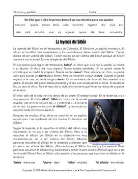 "El Silbón legend highlighting present tense forms of ""ir"""