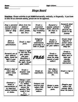 Cultural Bingo Project