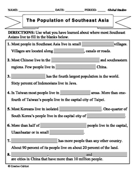Cultural Characteristics and Population of East and Southeast Asia