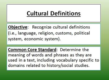 Cultural Definitions Powerpoint activities
