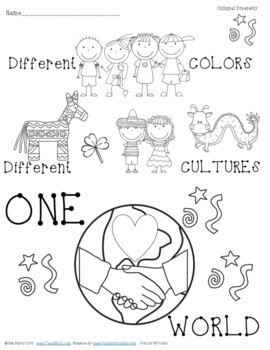 Cultural Diversity Bookmarks & Coloring Page by Teach K to ...