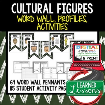 Cultural Figures Word Wall, Profiles & Activity Pages (History) Google Option