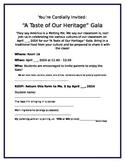 Cultural Food Gala Invitation