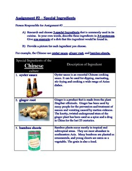 Cultural Foods Research Project