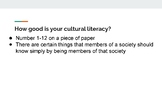 Cultural Literacy PowerPoint, Guided Notes, and Completed Notes
