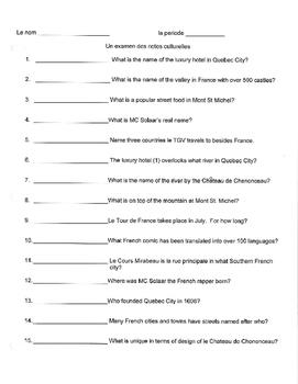 Cultural Note Quiz Discovering French 1 Bleu Bien dit level 1 Culture Quiz