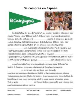 Cultural Reading: De compras en España