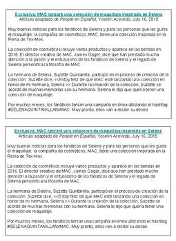 Cultural Reading-Selena Quintanilla Pérez