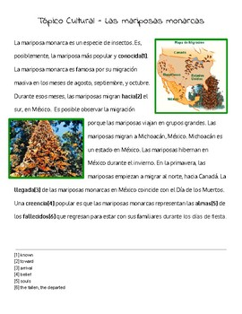 Cultural Reading-la mariposa monarca