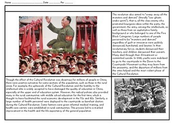 Cultural Revolution: Explain a Historical Event Reading & Graphic Organizer