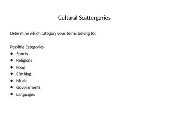 Cultural Scattergories