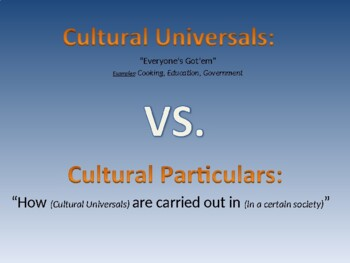 Cultural Universals and Particulars PPT Activity