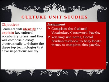 Cultural Vocabulary Crossword Puzzle and Technology Impacts Writing Prompt
