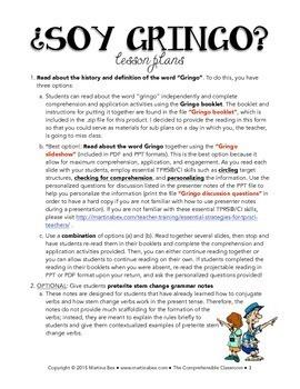 """SOMOS Spanish 2 Unit 4: """"Gringo"""" origins and preterite stem change verbs"""