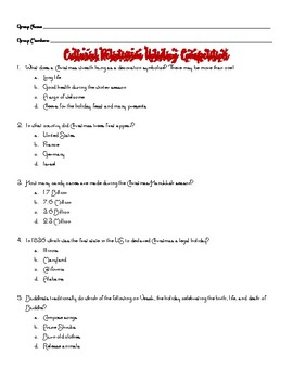 Culturally Relative Holiday Quiz Competition