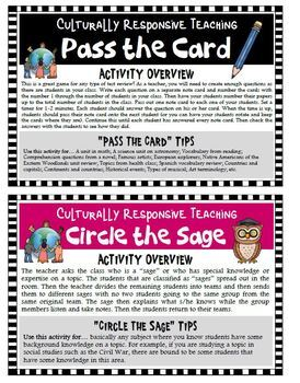 Culturally Responsive Teaching Activity Cards