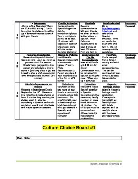Culture Choice Boards for Foreign Language Classroom